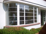 Curved bay window in house